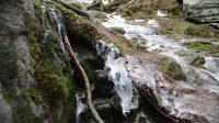Voda stékající ze svahu nad jeskyní