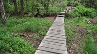 Mostek od parkoviště ke skalám