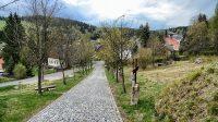 Křížová cesta podél cesty ke kostelu a hřbitovu