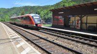 Vlak Dráhy národního parku ve stanici Schöna