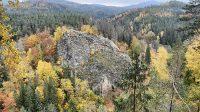Pohled z vyhlídky pod Břidličným vrchem 26. 10. 2020